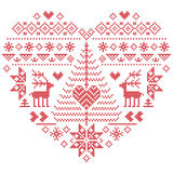 Christmas pattern in heart shape with reindeer, Christmas tree on white background. Heart Shape Scandinavian Printed Textile  style and inspired by  Norwegian Stock Photography