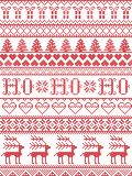 Christmas pattern HO HO HO carol seamless pattern inspired by Nordic culture festive winter in cross stitch with heart. Snowflake, snow ,Christmas tree stock illustration