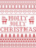 Christmas pattern Holly Jolly Christmas carol seamless pattern inspired by Nordic culture festive winter in cross stitch. With heart, snowflake, snow , reindeer vector illustration