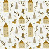 Christmas pattern with houses royalty free illustration