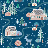 Christmas pattern with houses. Stock Photo