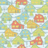 Christmas pattern with houses and trees in winter Royalty Free Stock Photography