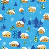 Christmas pattern with houses Royalty Free Stock Photography