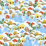 Christmas pattern with houses Stock Image