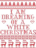Christmas pattern I am dreaming of a white Christmas carol seamless pattern inspired by Nordic culture festive winter. In cross stitch with heart, snowflake stock illustration
