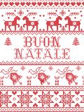 Christmas pattern Italian Merry Christmas Buon Natale seamless pattern inspired by Nordic culture festive winter in cross Royalty Free Illustration