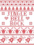 Christmas pattern Jingle bell rock carol seamless pattern inspired by Nordic culture festive winter in cross stitch. With heart, snowflake, snow ,Christmas tree vector illustration