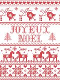 Christmas pattern Joyeux Noel seamless pattern inspired by Nordic culture festive winter in cross stitch with heart, snowf Royalty Free Illustration