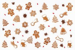 Christmas pattern made of gingerbread cookies Royalty Free Stock Images