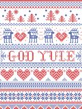 Christmas pattern Merry Christmas in Norwegian God Yule seamless pattern inspired by Nordic culture festive winter stitched vector illustration