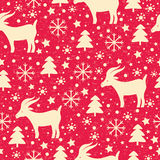 Christmas pattern. Merry Christmas and Happy New Year seamless pattern with goat vector illustration