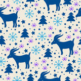 Christmas pattern. Merry Christmas and Happy New Year seamless pattern with goat Stock Photos