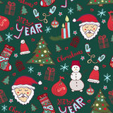 Christmas pattern. New year cute doodle seamless print. Stock Photo
