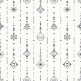 Christmas pattern with new years toy consisting of christmas tree, ball, snowflake. Art deco line style for poster, sale, greeting cards, product promotion, web Stock Photography