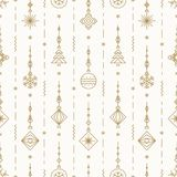 Christmas pattern with new years toy gold color consisting of xmas tree, ball, snowflake Stock Photo