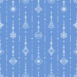 Christmas pattern with new years toy - tree, ball, snowflake art deco line style. On blue background for poster, sale, greeting cards, product promotion, web Royalty Free Stock Images