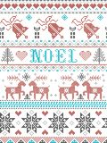 Christmas Pattern Noel Scandinavian style, inspired by Norwegian festive winter culture, seamless, in cross stitch with reindeer royalty free illustration