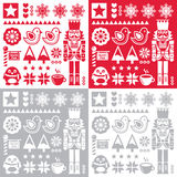 Christmas pattern with nutcracker - set of four designs folk art style Stock Photos