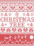 Christmas pattern O Christmas tree carol seamless pattern inspired by Nordic culture festive winter in cross stitch with he. Art, snowflake, snow ,Christmas tree royalty free illustration
