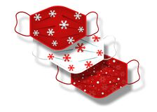 Free Christmas Pattern Of Surgical Masks. Industrial Safety Mask, Dust Protection Respirator And Breathing Medical Respiratory Mask Stock Photos - 199862503