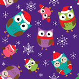 Christmas pattern with owls Stock Photo