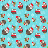 Christmas pattern with owls Stock Image