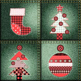 Christmas pattern in patchwork style Stock Photography