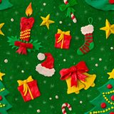 Christmas pattern with plasticine figures Royalty Free Stock Photos