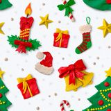 Christmas pattern with plasticine figures Stock Images