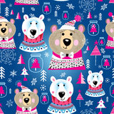 Christmas pattern with portraits of bears Stock Photography