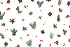 Christmas Pattern With Stars, Red Berries, Green Twigs And Anise royalty free stock image
