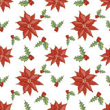 Christmas pattern red. Red flowers in christmas seamless pattern Royalty Free Stock Photo