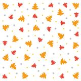Merry Christmas wallpaper background with stars and trees. Christmas pattern: red and orange trees, yellow and silver stars on white background. Vector Image royalty free illustration