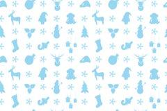 Christmas pattern with reindeer, Christmas tree, Santa Claus, mo Royalty Free Stock Photo
