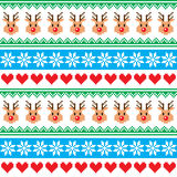 Christmas pattern with reindeer pattern - scandynavian sweater style Royalty Free Stock Photography