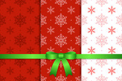 Christmas Pattern and Ribbon. Christmas Seamless Pattern Background and Ribbon Royalty Free Stock Photos