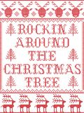 Christmas pattern Rockin Around the Christmas tree carol seamless pattern inspired by Nordic culture festive winter stitch Stock Illustration