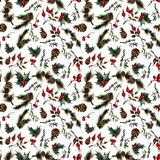 Christmas pattern with rosehip stock illustration