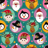 Christmas pattern with Santa, deer,penguin,elf and Stock Photos