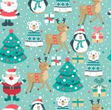 Christmas pattern with Santa, tree,boxes,  polar bear. snowman, deer and penguin., vector illustration