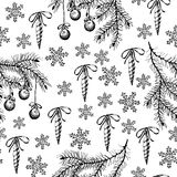 Christmas pattern seamless, hand drawing sketch illustration. Vector christmas fir branch, toy, and snowflake. New year Stock Photos
