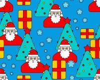 Christmas pattern seamless. Santa and Christmas tree and box. Ne Vector Illustration