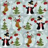 Christmas pattern seamless with snowman and Christ royalty free stock photo