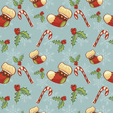 Christmas pattern. Seamless pattern with christmas socks and snowflakes Royalty Free Stock Photos