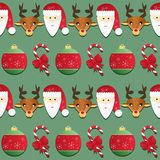 Christmas pattern. Seamless texture with Santa and reindeer Royalty Free Stock Photos