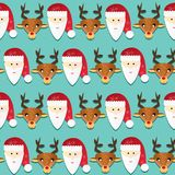 Christmas pattern. Seamless texture with Santa and reindeer Stock Photo