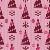 Christmas pattern, seamless; Christmas tree, Christmas decorations and Christmas balls stock illustration