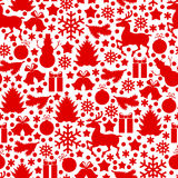 Christmas pattern seamless. Vector illustrations of red Christmas pattern seamless with baubles on white background Stock Photo