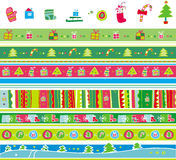 Christmas pattern set. Colorful vector christmas pattern set. Isolated editable design elements of christmas tree, present box, sock, candy, snowflake Stock Illustration