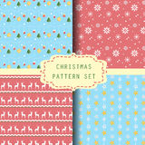 4 christmas pattern set, vector Royalty Free Stock Photo
